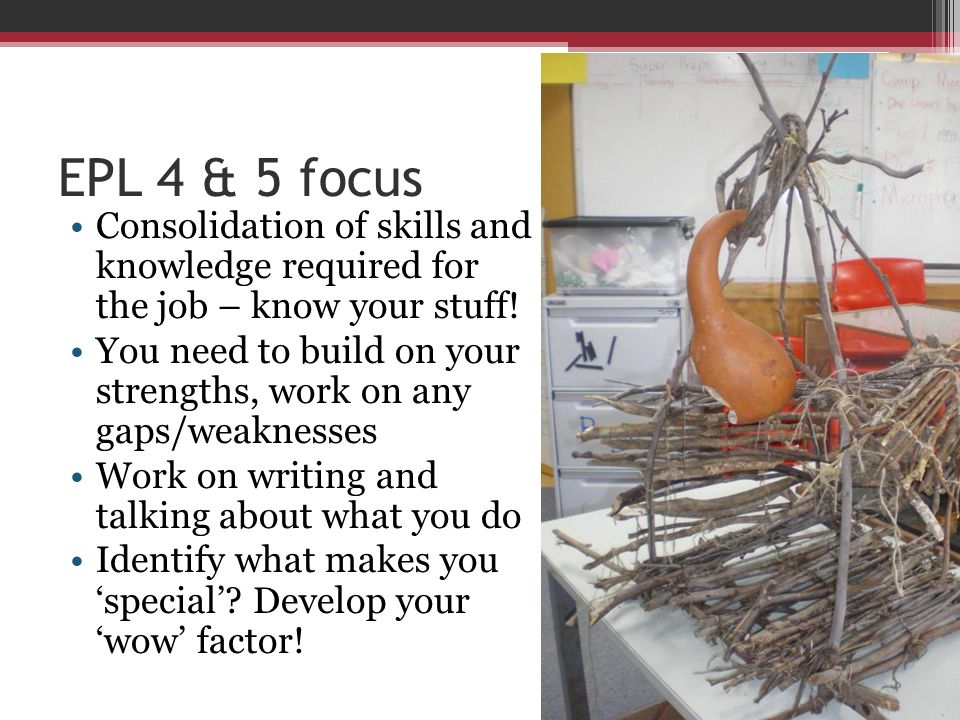 EPL 4 & 5 focus Consolidation of skills and knowledge required for the job – know your stuff! You need to build on your strengths, work on any gaps/we