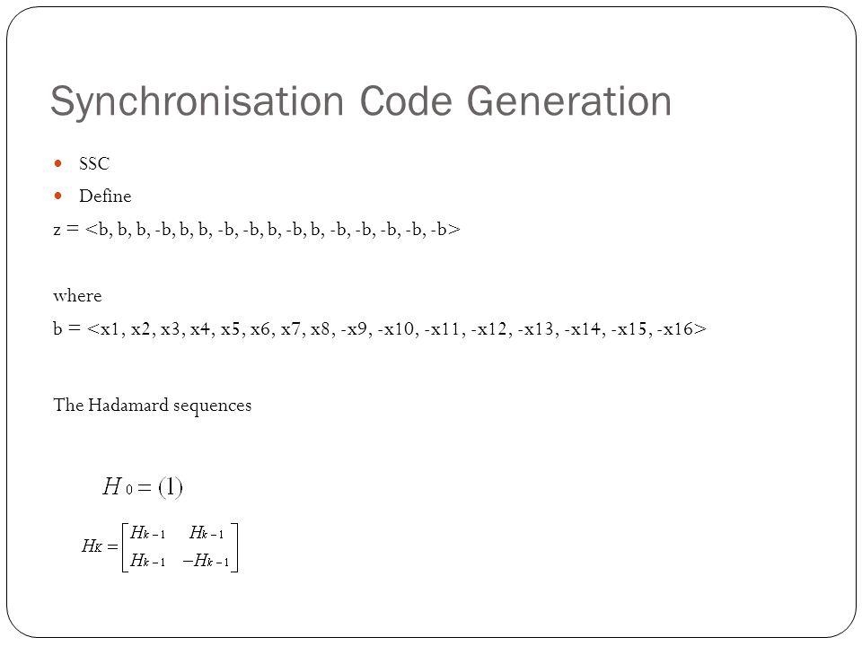 Synchronisation Code Generation SSC Define z = where b = The Hadamard sequences
