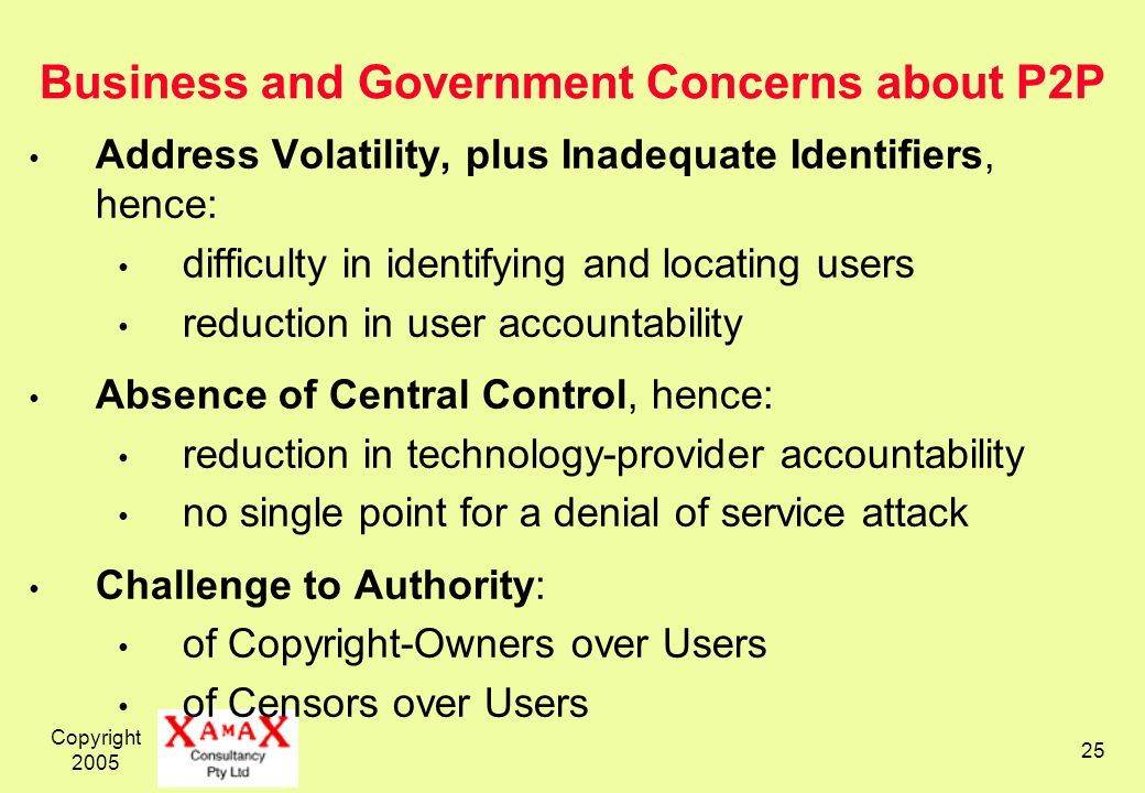 Copyright Business and Government Concerns about P2P Address Volatility, plus Inadequate Identifiers, hence: difficulty in identifying and locating users reduction in user accountability Absence of Central Control, hence: reduction in technology-provider accountability no single point for a denial of service attack Challenge to Authority: of Copyright-Owners over Users of Censors over Users