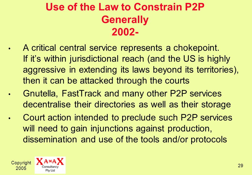 Copyright Use of the Law to Constrain P2P Generally A critical central service represents a chokepoint.