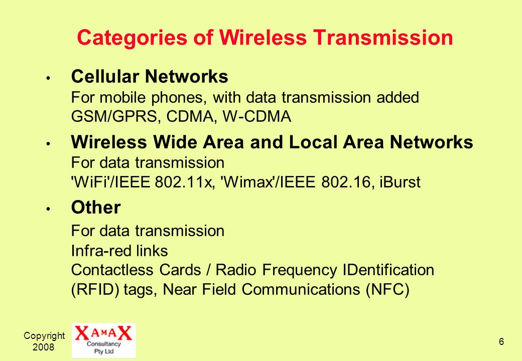Copyright 2008 6 Categories of Wireless Transmission Cellular Networks For mobile phones, with data transmission added GSM/GPRS, CDMA, W-CDMA Wireless