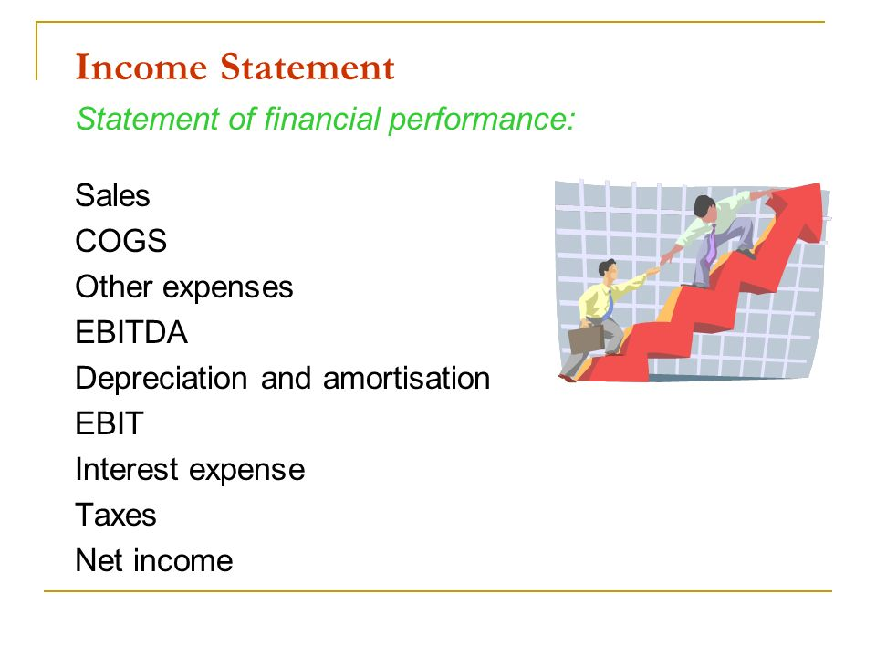 Income Statement Statement of financial performance: Sales COGS Other expenses EBITDA Depreciation and amortisation EBIT Interest expense Taxes Net in