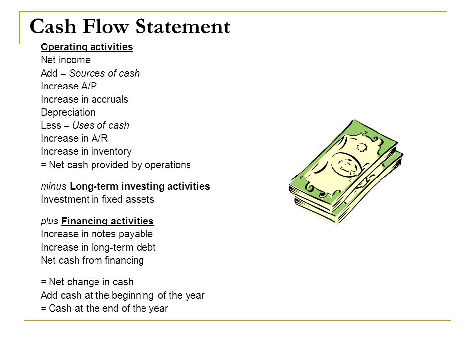 Cash Flow Statement Operating activities Net income Add – Sources of cash Increase A/P Increase in accruals Depreciation Less – Uses of cash Increase