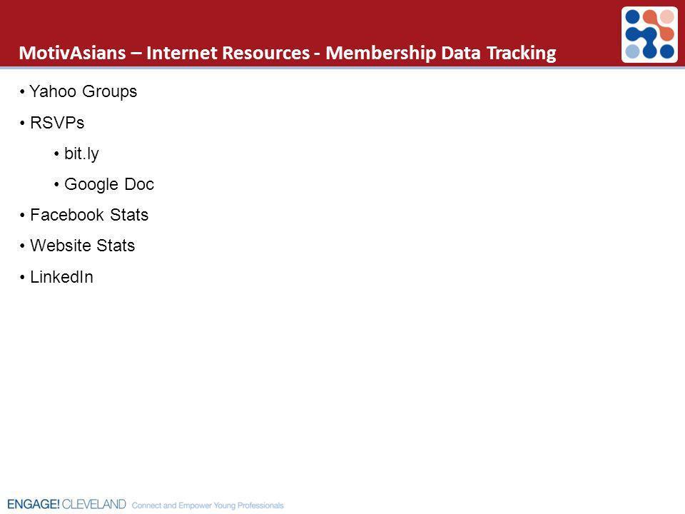 MotivAsians – Internet Resources - Membership Data Tracking Yahoo Groups RSVPs bit.ly Google Doc Facebook Stats Website Stats LinkedIn