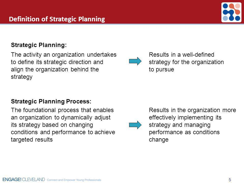 Definition of Strategic Planning The activity an organization undertakes to define its strategic direction and align the organization behind the strat