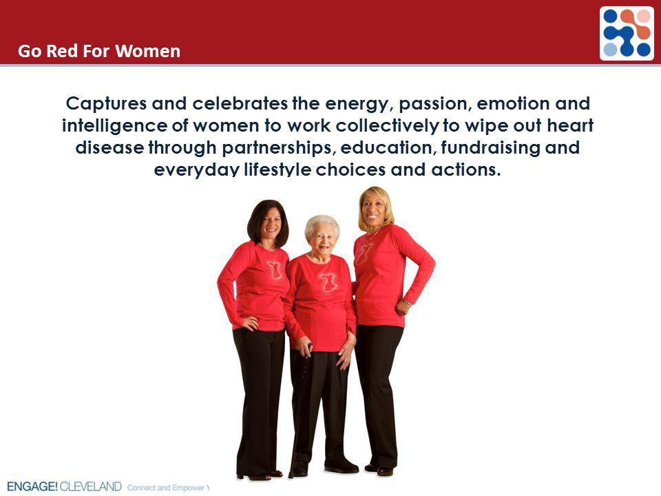 Go Red For Women Captures and celebrates the energy, passion, emotion and intelligence of women to work collectively to wipe out heart disease through