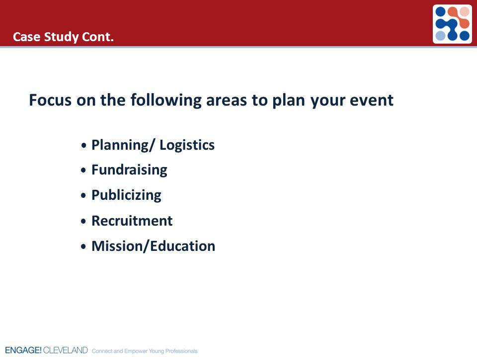 Case Study Cont. Focus on the following areas to plan your event Planning/ Logistics Fundraising Publicizing Recruitment Mission/Education
