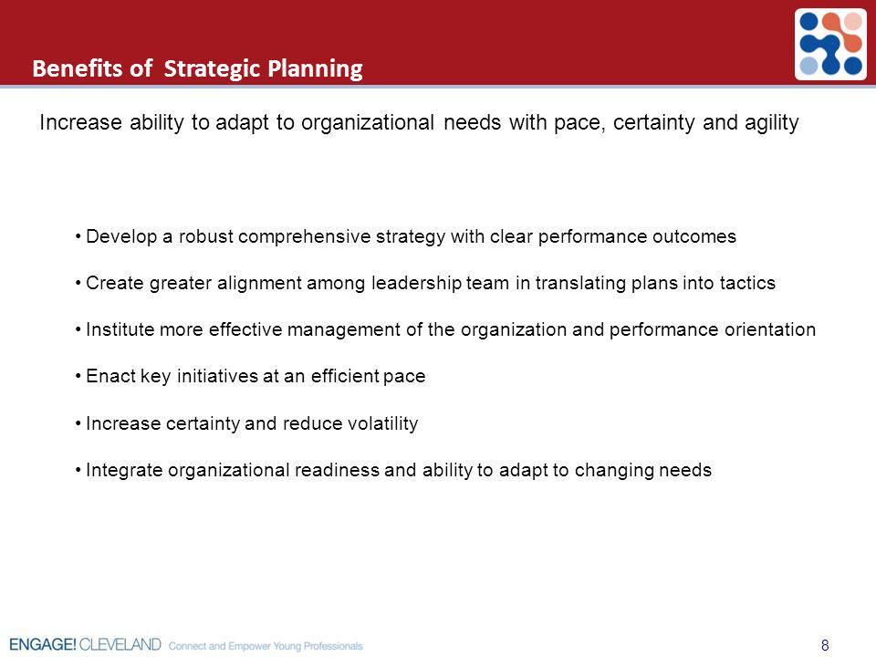 Develop a robust comprehensive strategy with clear performance outcomes Create greater alignment among leadership team in translating plans into tacti