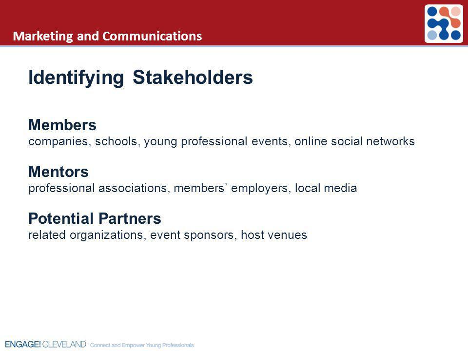 Marketing and Communications Identifying Stakeholders Members companies, schools, young professional events, online social networks Mentors profession