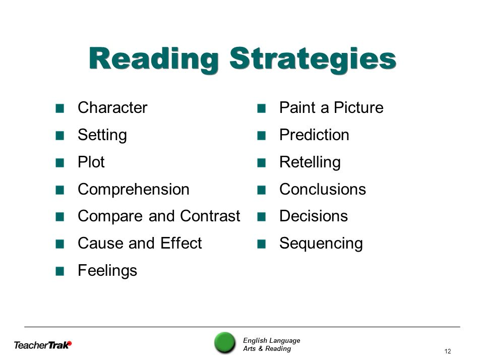 English Language Arts & Reading 12 Reading Strategies Character Setting Plot Comprehension Compare and Contrast Cause and Effect Feelings Paint a Pict