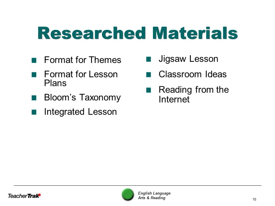 English Language Arts & Reading 16 Researched Materials Format for Themes Format for Lesson Plans Blooms Taxonomy Integrated Lesson Jigsaw Lesson Clas