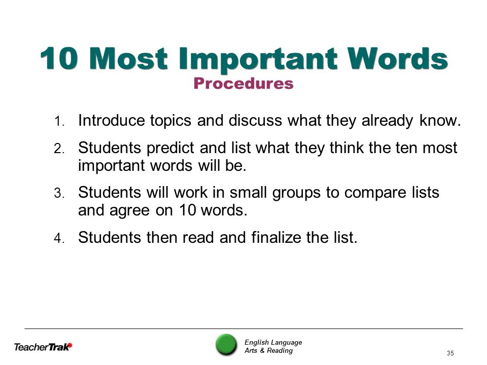 English Language Arts & Reading 35 10 Most Important Words 1. Introduce topics and discuss what they already know. 2. Students predict and list what t