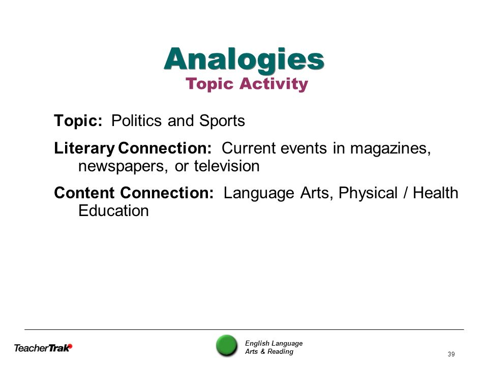 English Language Arts & Reading 39 Analogies Topic: Politics and Sports Literary Connection: Current events in magazines, newspapers, or television Co