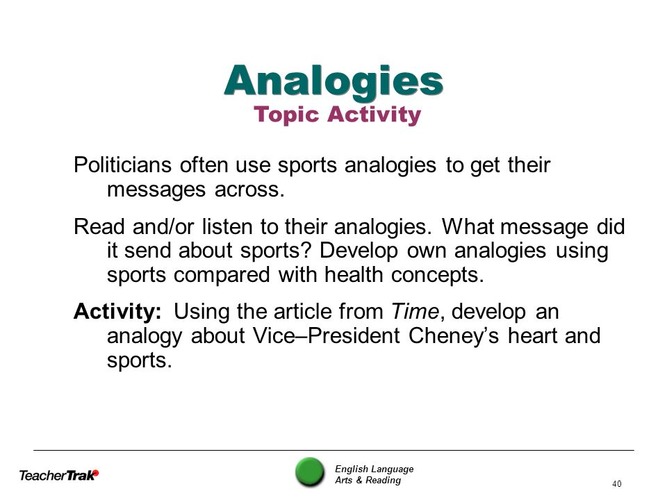 English Language Arts & Reading 40 Analogies Politicians often use sports analogies to get their messages across. Read and/or listen to their analogie