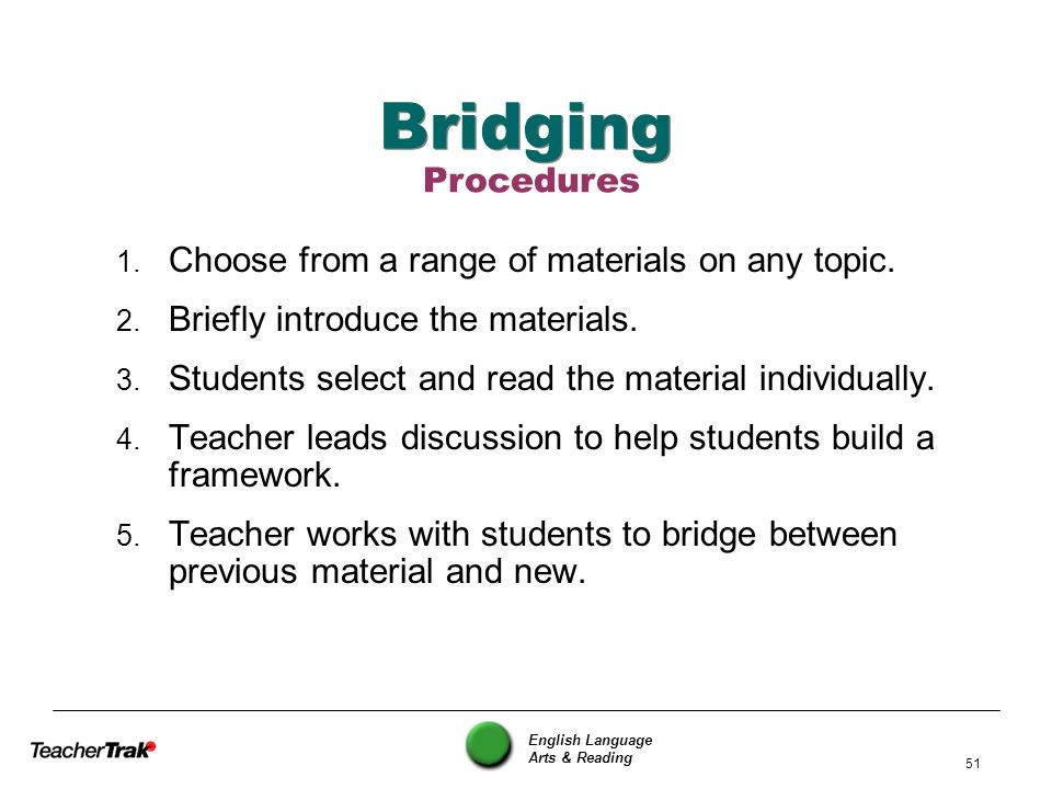 English Language Arts & Reading 51 Bridging 1. Choose from a range of materials on any topic. 2. Briefly introduce the materials. 3. Students select a