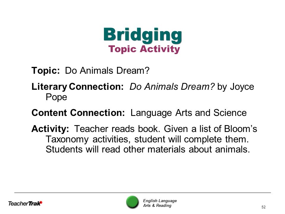 English Language Arts & Reading 52 Bridging Topic: Do Animals Dream? Literary Connection: Do Animals Dream? by Joyce Pope Content Connection: Language