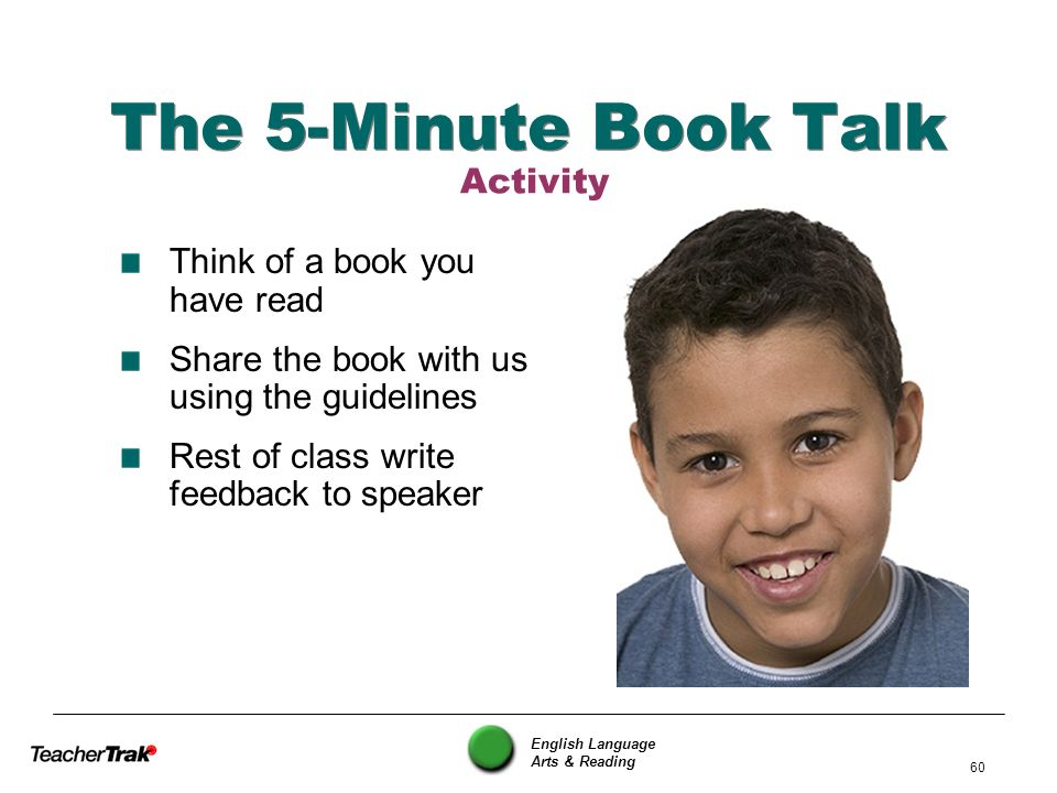 English Language Arts & Reading 60 The 5-Minute Book Talk Think of a book you have read Share the book with us using the guidelines Rest of class writ