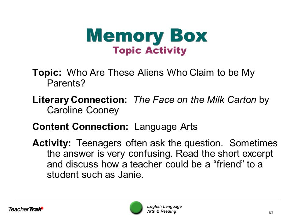 English Language Arts & Reading 63 Memory Box Topic: Who Are These Aliens Who Claim to be My Parents? Literary Connection: The Face on the Milk Carton