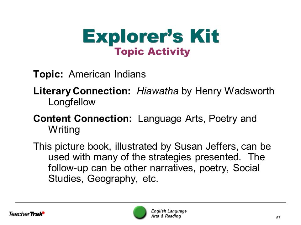 English Language Arts & Reading 67 Explorers Kit Topic: American Indians Literary Connection: Hiawatha by Henry Wadsworth Longfellow Content Connectio
