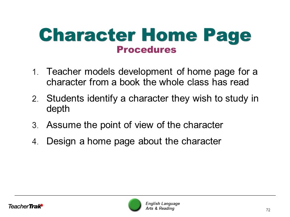 English Language Arts & Reading 72 Character Home Page 1. Teacher models development of home page for a character from a book the whole class has read