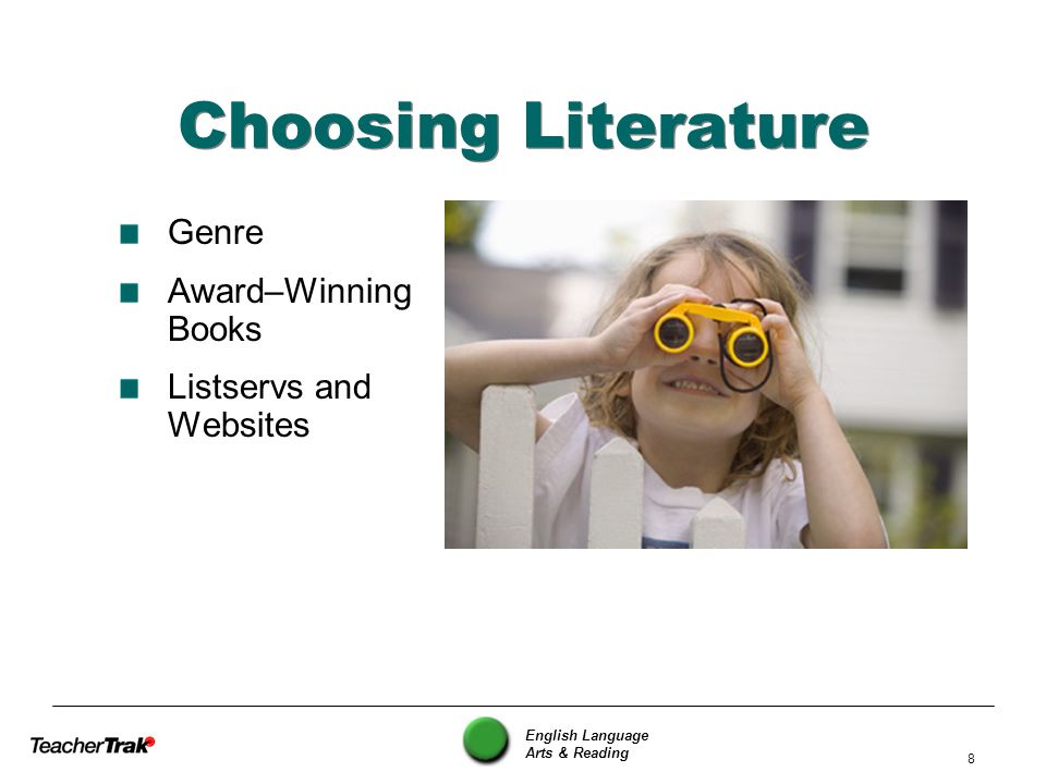 English Language Arts & Reading 59 The 5-Minute Book Talk Name of book and author, name of student giving the talk One or two things you remember Something positive about the way the student gave the talk Something the student might do differently next time Feedback