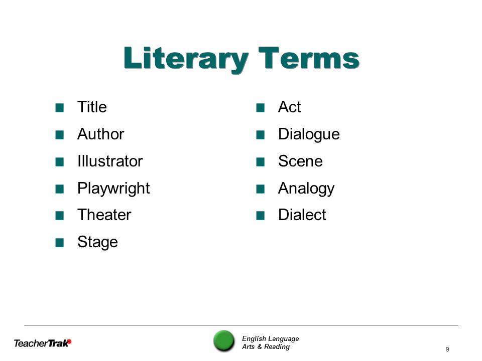English Language Arts & Reading 10 Literary Devices Foreshadowing Flashback Symbolism Style Tone Mood Figurative Language Irony