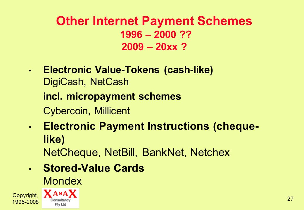 Copyright, 1995-2008 27 Other Internet Payment Schemes 1996 – 2000 .