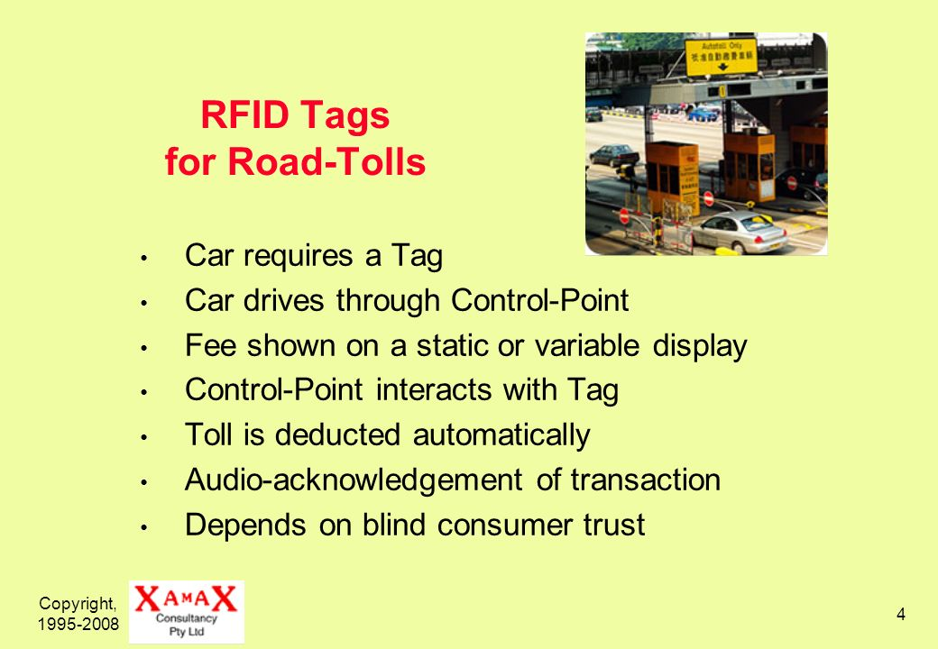 Copyright, 1995-2008 4 RFID Tags for Road-Tolls Car requires a Tag Car drives through Control-Point Fee shown on a static or variable display Control-Point interacts with Tag Toll is deducted automatically Audio-acknowledgement of transaction Depends on blind consumer trust