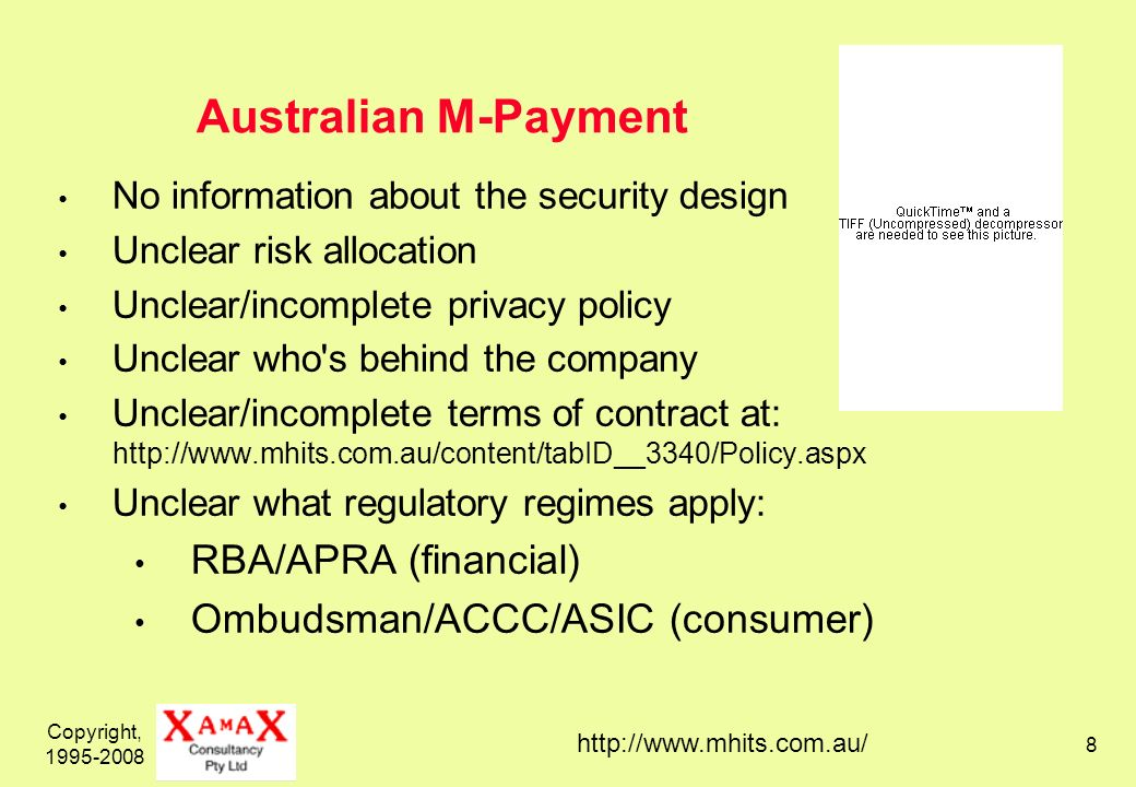 Copyright, 1995-2008 9 Links an Account with the Intermediary to: an existing bank account; and/or an existing credit card (but is now becoming a card-issuer as well) Passes on Payment Instructions sent from: web-browser touch-tone to IVR SMS / text-messages (but imposes punitive terms and fees)