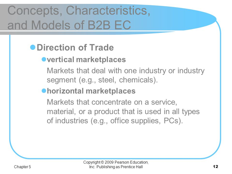 Chapter 5 Copyright © 2009 Pearson Education, Inc. Publishing as Prentice Hall11 Concepts, Characteristics, and Models of B2B EC Types of Materials Tr