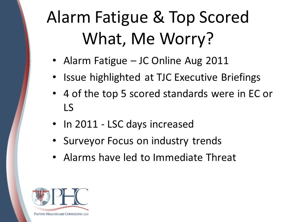 Alarm Fatigue & Top Scored What, Me Worry? Alarm Fatigue – JC Online Aug 2011 Issue highlighted at TJC Executive Briefings 4 of the top 5 scored stand