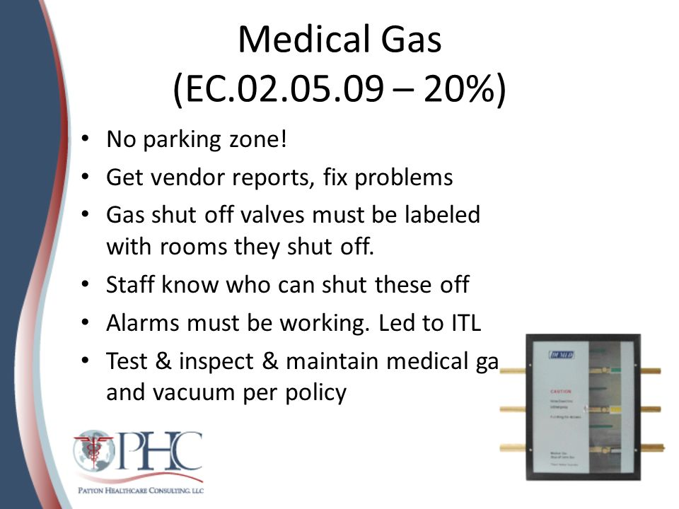 Medical Gas (EC.02.05.09 – 20%) No parking zone! Get vendor reports, fix problems Gas shut off valves must be labeled with rooms they shut off. Staff