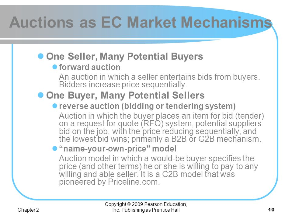 Chapter 2 Copyright © 2009 Pearson Education, Inc. Publishing as Prentice Hall9 Auctions as EC Market Mechanisms TRADITIONAL AUCTIONS VERSUS E- AUCTIO