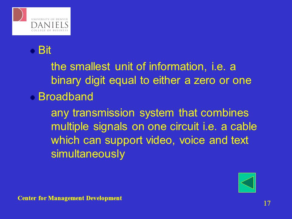 Center for Management Development 17 Bit –the smallest unit of information, i.e.