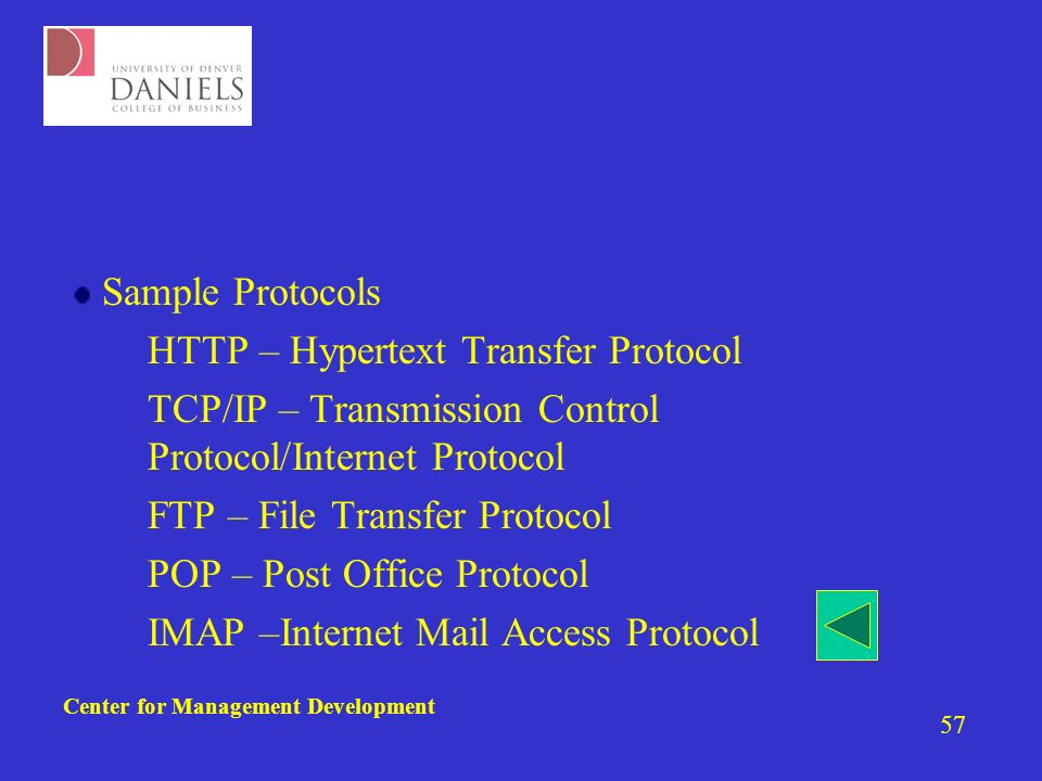 Center for Management Development 57 Sample Protocols –HTTP – Hypertext Transfer Protocol –TCP/IP – Transmission Control Protocol/Internet Protocol –FTP – File Transfer Protocol –POP – Post Office Protocol –IMAP –Internet Mail Access Protocol