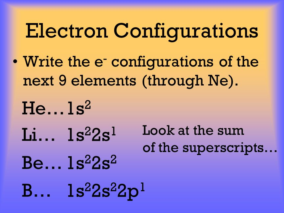 Electron Configurations Write the e - configurations of the next 9 elements (through Ne). 1s 2 He… 1s 2 2s 1 Li… 1s 2 2s 2 Be… 1s 2 2s 2 2p 1 B… Look