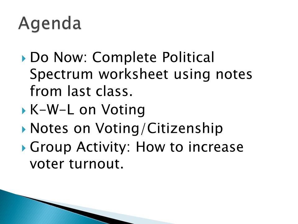Do Now: Complete Political Spectrum worksheet using notes from last class. K-W-L on Voting Notes on Voting/Citizenship Group Activity: How to increase