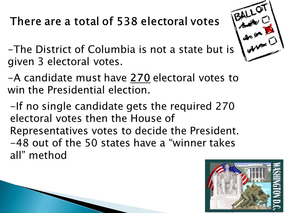 There are a total of 538 electoral votes -The District of Columbia is not a state but is given 3 electoral votes. -A candidate must have 270 electoral