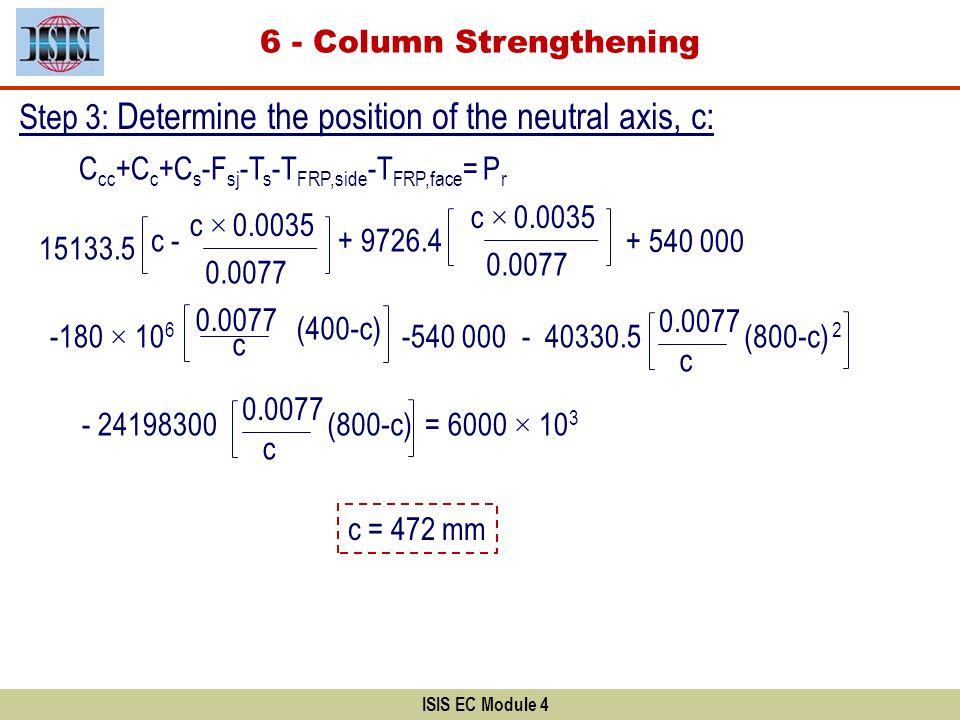 ISIS EC Module 4 C cc +C c +C s -F sj -T s -T FRP,side -T FRP,face = P r 15133.5 c - c × 0.0035 0.0077 + 9726.4 c × 0.0035 0.0077 + 540 000 c (400-c)