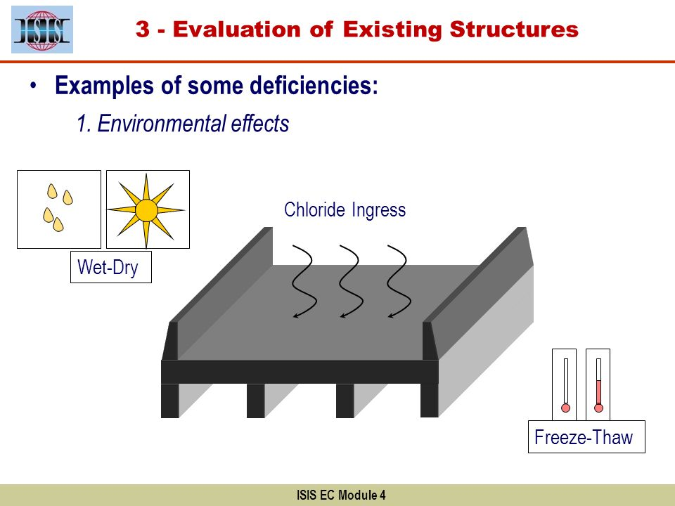 3 - Evaluation of Existing Structures ISIS EC Module 4 Examples of some deficiencies: 1. Environmental effects Freeze-Thaw Chloride Ingress Wet-Dry