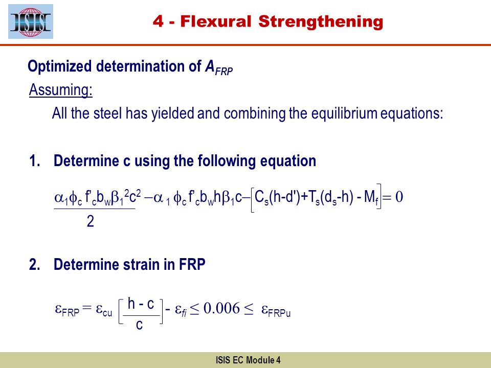 Optimized determination of A FRP Assuming: All the steel has yielded and combining the equilibrium equations: 1.Determine c using the following equati