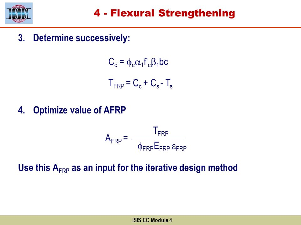 3.Determine successively: 4.Optimize value of AFRP Use this A FRP as an input for the iterative design method ISIS EC Module 4 A FRP = T FRP FRP E FRP
