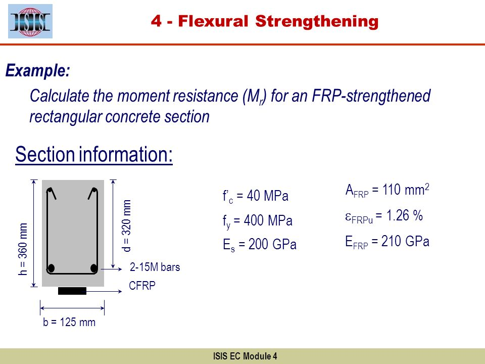 ISIS EC Module 4 Example: Calculate the moment resistance (M r ) for an FRP-strengthened rectangular concrete section Section information: f c = 40 MP