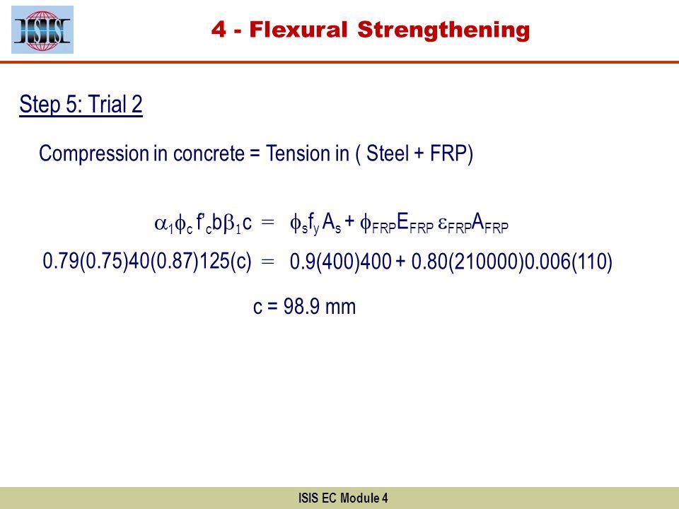 ISIS EC Module 4 Step 5: Trial 2 s f y A s + FRP E FRP FRP A FRP Compression in concrete = Tension in ( Steel + FRP) 1 c f c b c = 0.79(0.75)40(0.87)1
