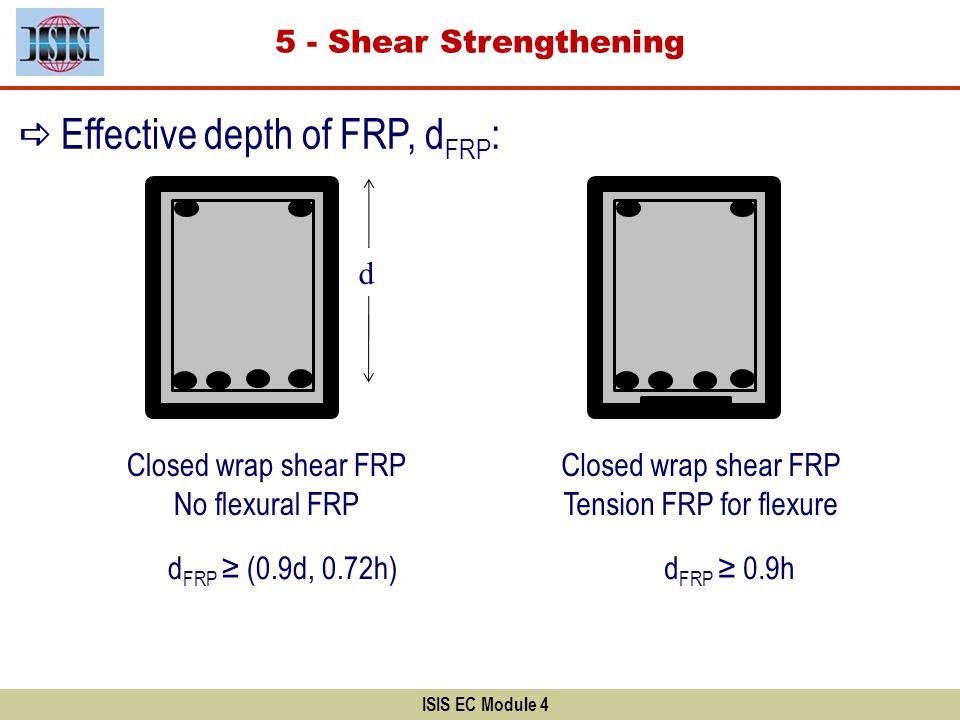 ISIS EC Module 4 Effective depth of FRP, d FRP : Closed wrap shear FRP No flexural FRP Closed wrap shear FRP Tension FRP for flexure d FRP (0.9d, 0.72