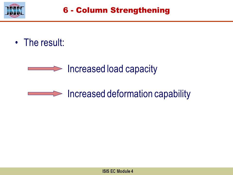 ISIS EC Module 4 The result: Increased load capacity Increased deformation capability 6 - Column Strengthening