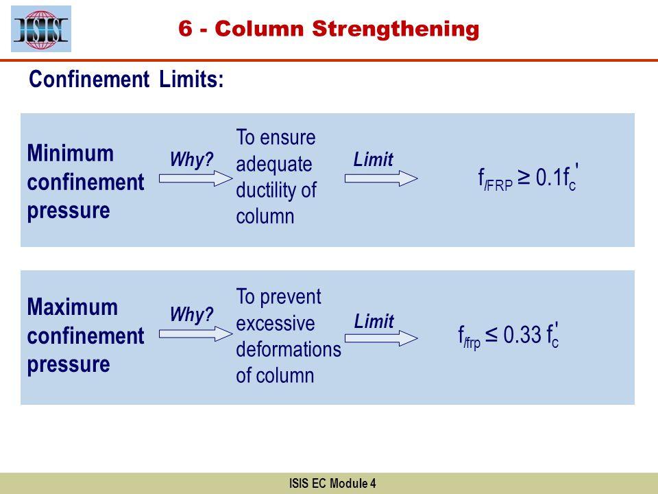 ISIS EC Module 4 Minimum confinement pressure Maximum confinement pressure Why? To ensure adequate ductility of column Limit f l FRP 0.1 f c To preven