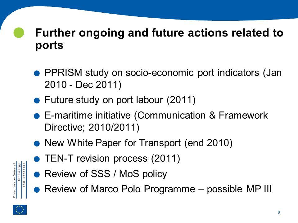 8. PPRISM study on socio-economic port indicators (Jan 2010 - Dec 2011).