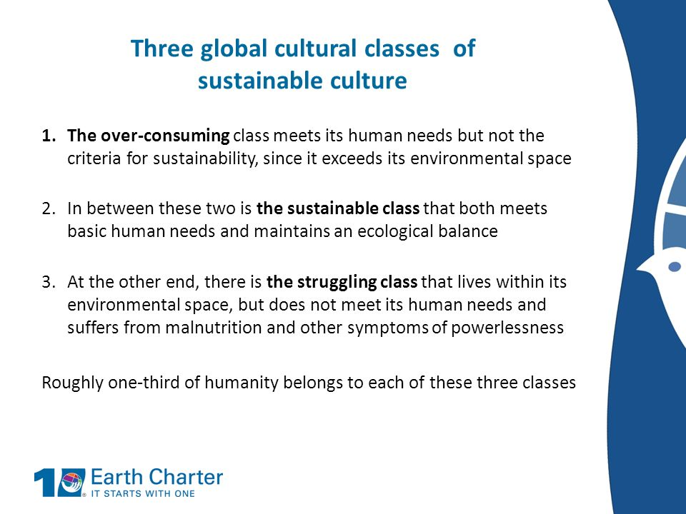 Three global cultural classes of sustainable culture 1.The over-consuming class meets its human needs but not the criteria for sustainability, since i