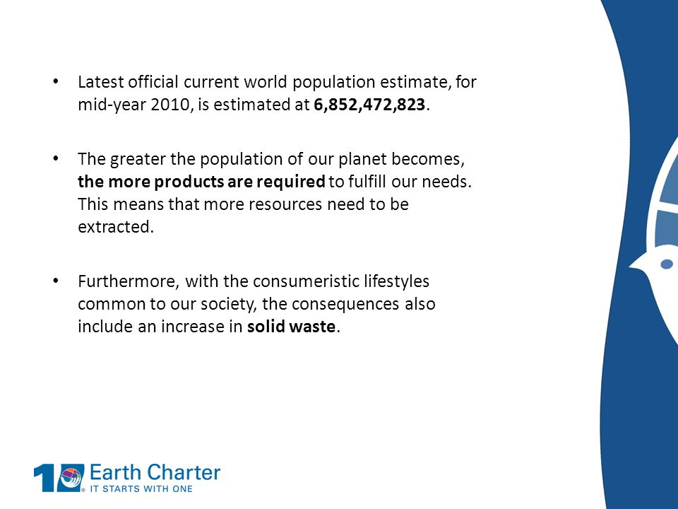 Latest official current world population estimate, for mid-year 2010, is estimated at 6,852,472,823. The greater the population of our planet becomes,